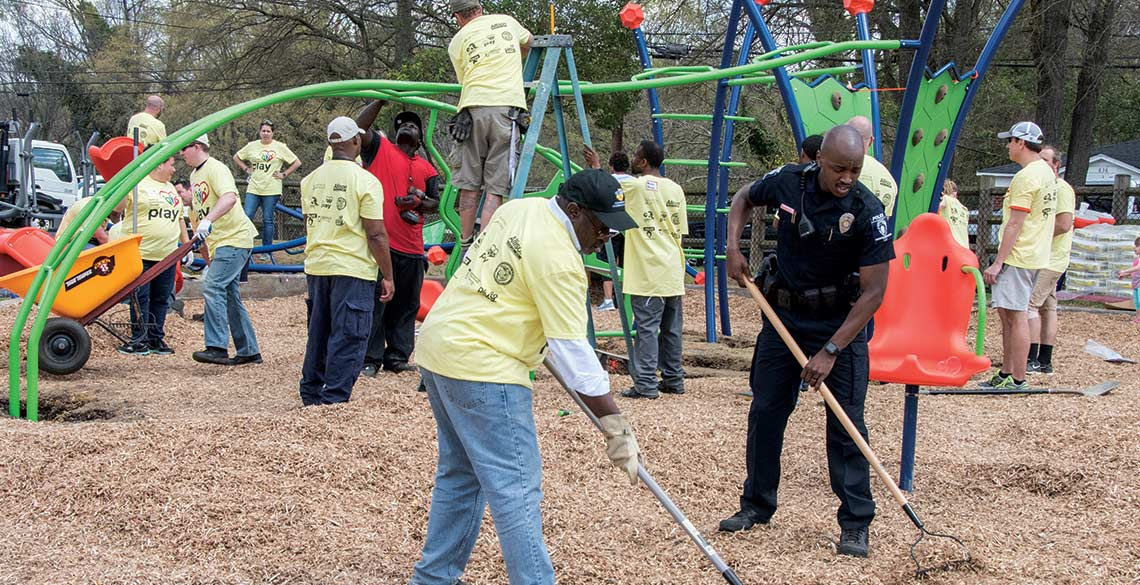 Police and community members working side-by-side