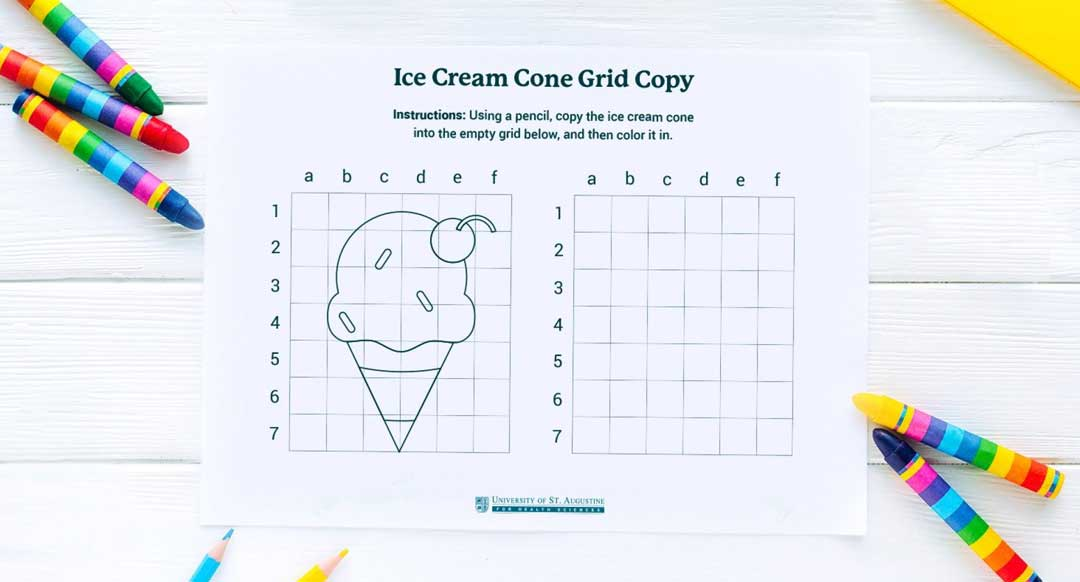 Ice Cream Cone Grid Drawing Printable