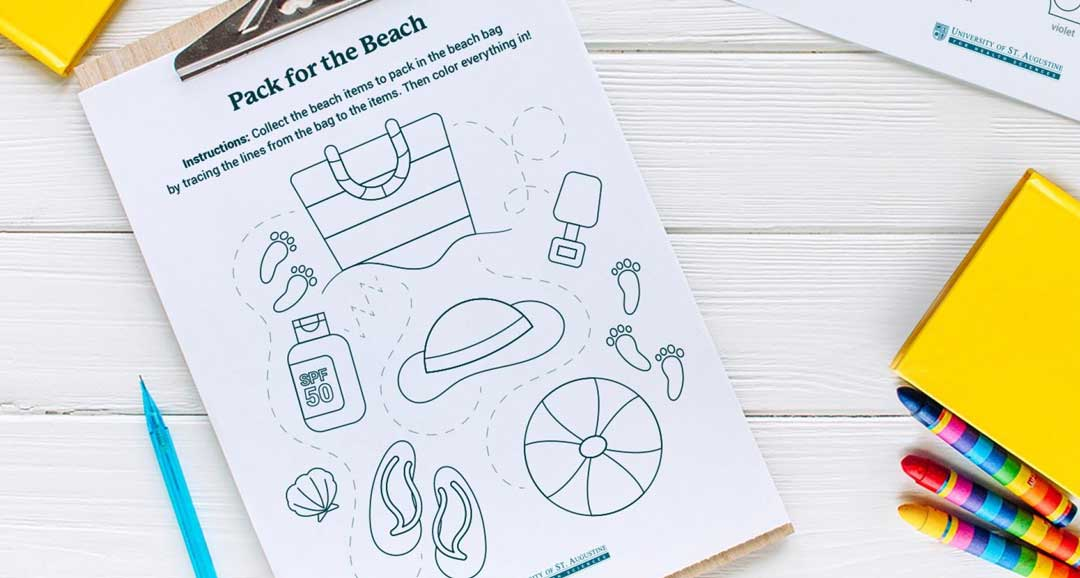 Beach Trip Line Tracing Printable