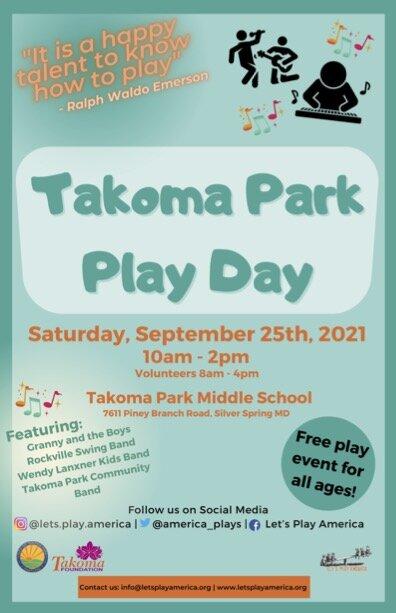 Takoma Park Play Day: September 25th, 2021