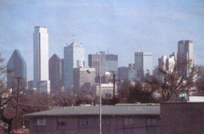 Dallas skyline from playground