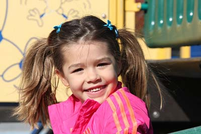 Girl having fun on a playground.