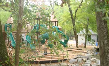A playground in the woods