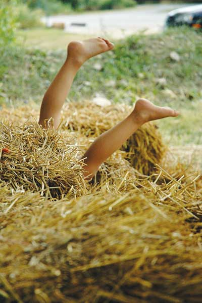 Child's legs sticking out of hay