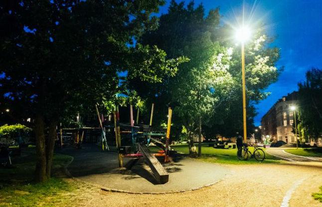 Folkets park at night.