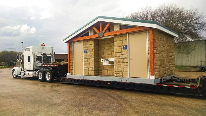 Restroom delivered on semi