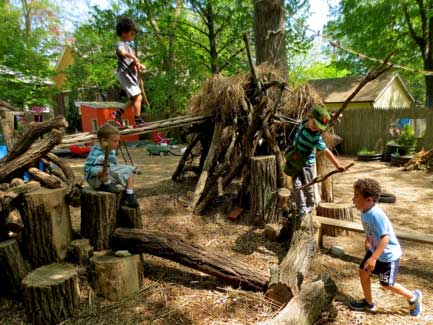 Kids on a log walkway