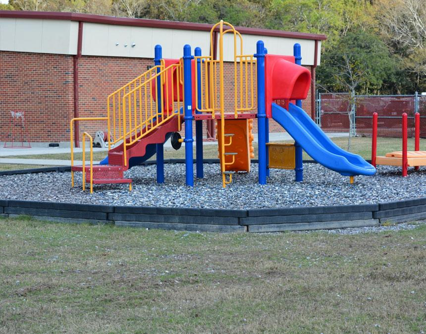 Jelly Bean rubber mulch on a playground