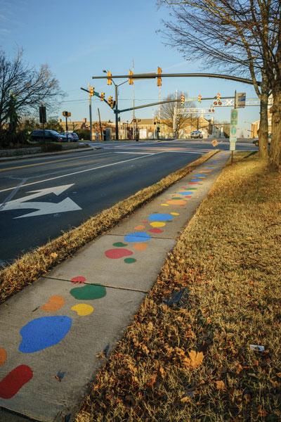 Painted sidewalk