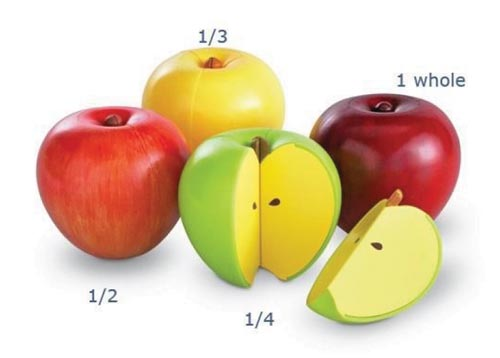 Fruit can be used as examples of fractions