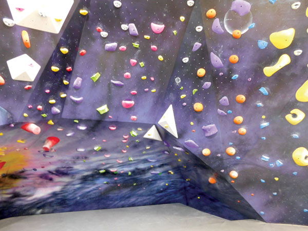 Space themed climbing wall