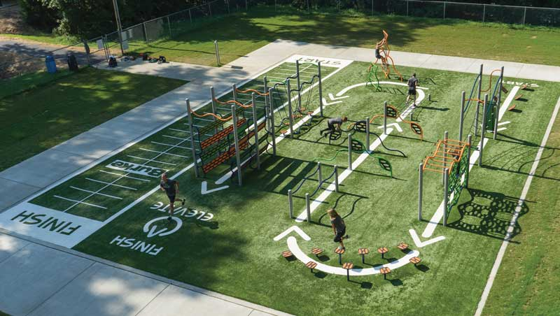 The ELEVATE Fitness Course engages the entire community in outdoor fitness and promotes healthy lifestyles for kids ages 5-12 and everyone 13+.