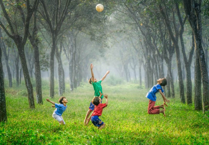 Children playing ball together
