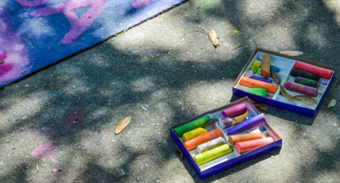 Chalk is great for outside art