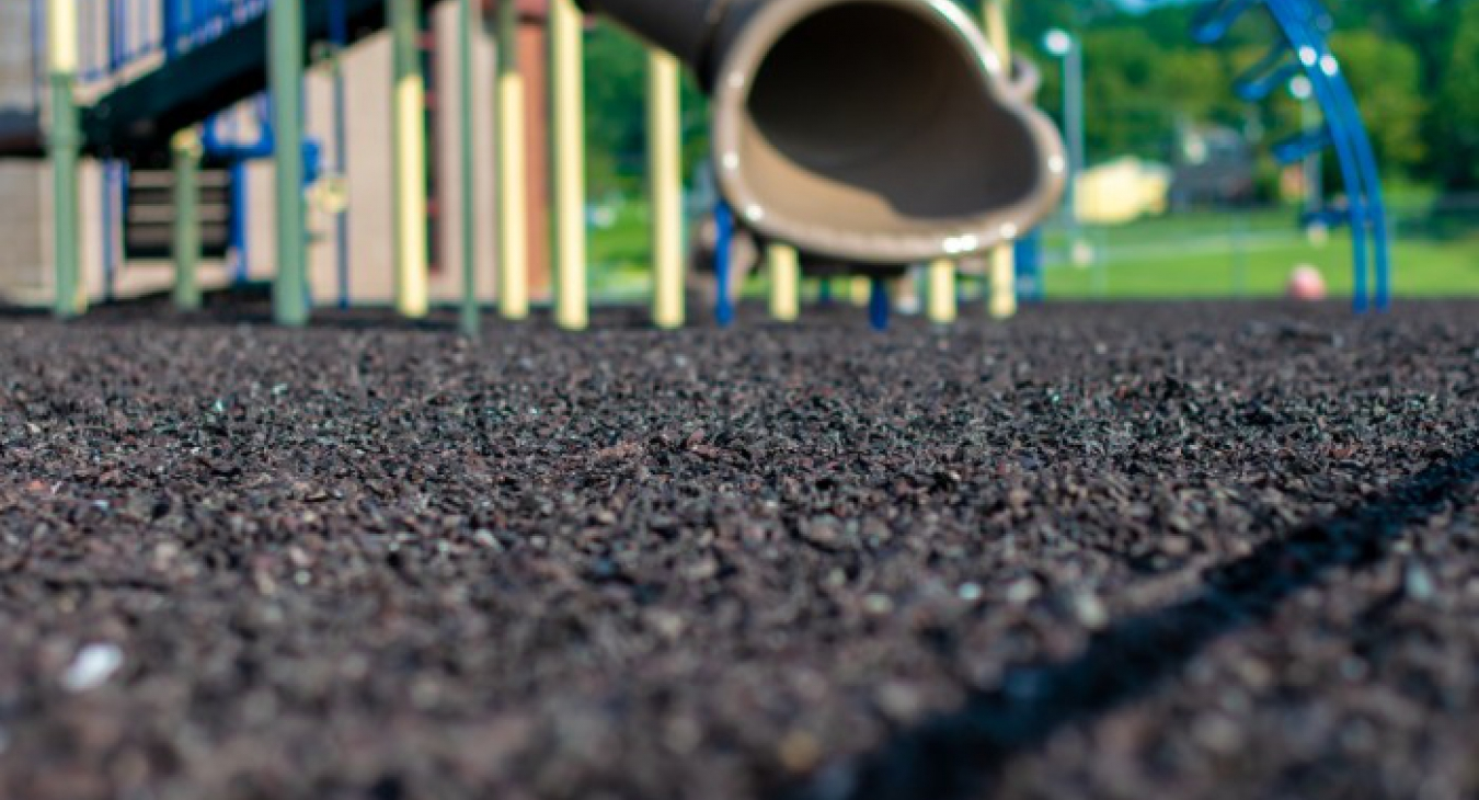 Loose rubber mulch on a playground