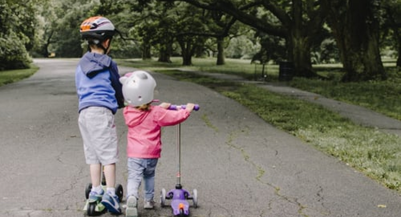 Active children on scooters
