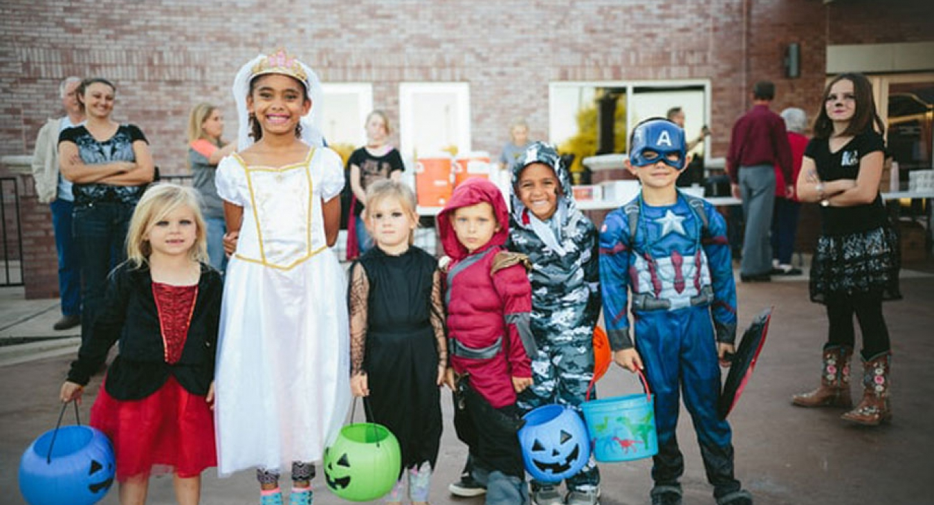 Children dressed up for trunk or treat