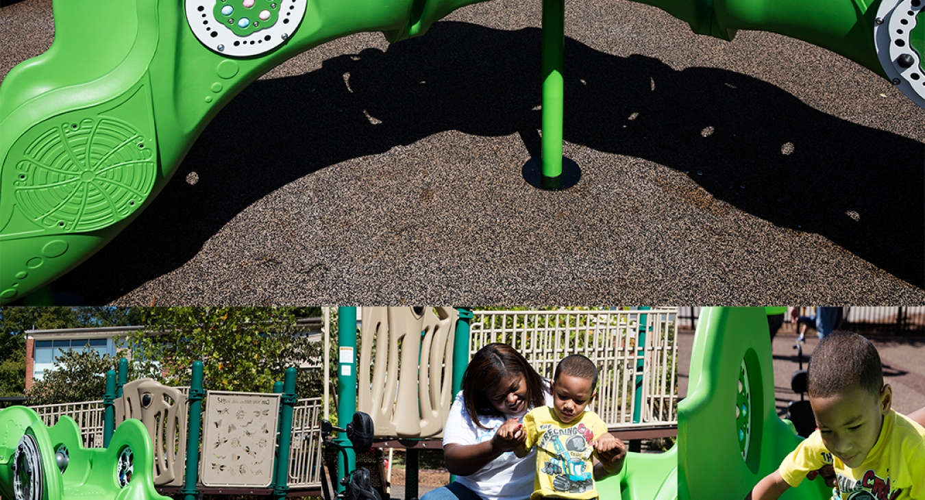Children on a sensory arch