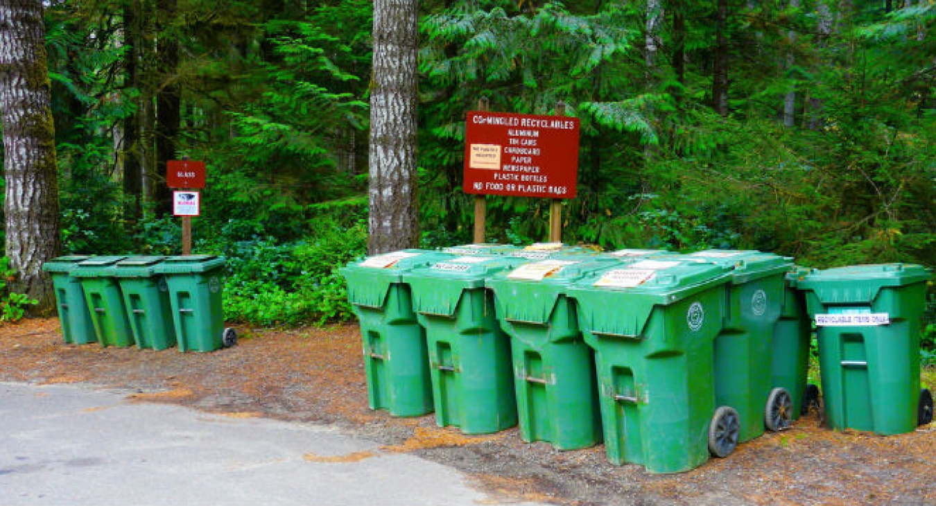 Recycling bins in a park