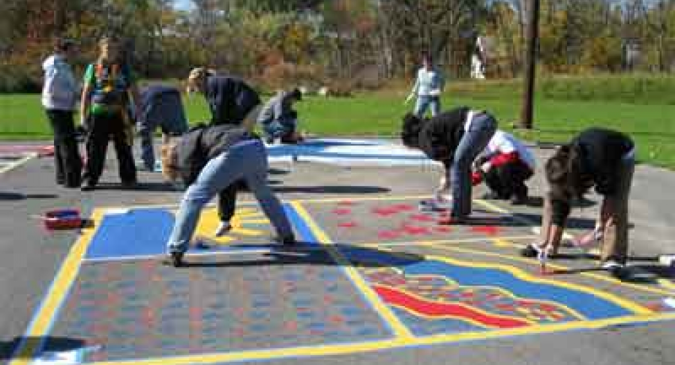 Painted asphalt playground games