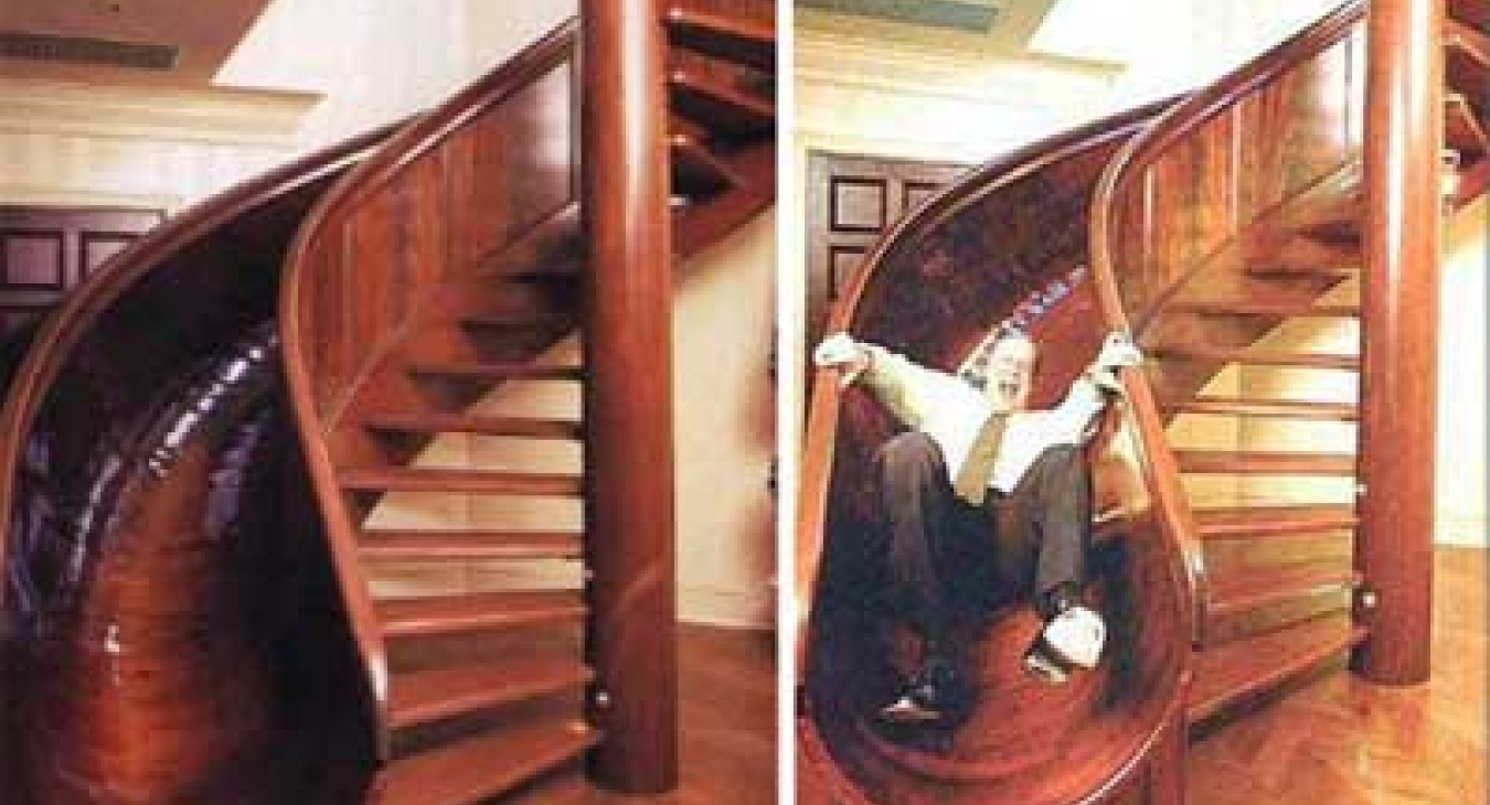 Stair slide in mansion