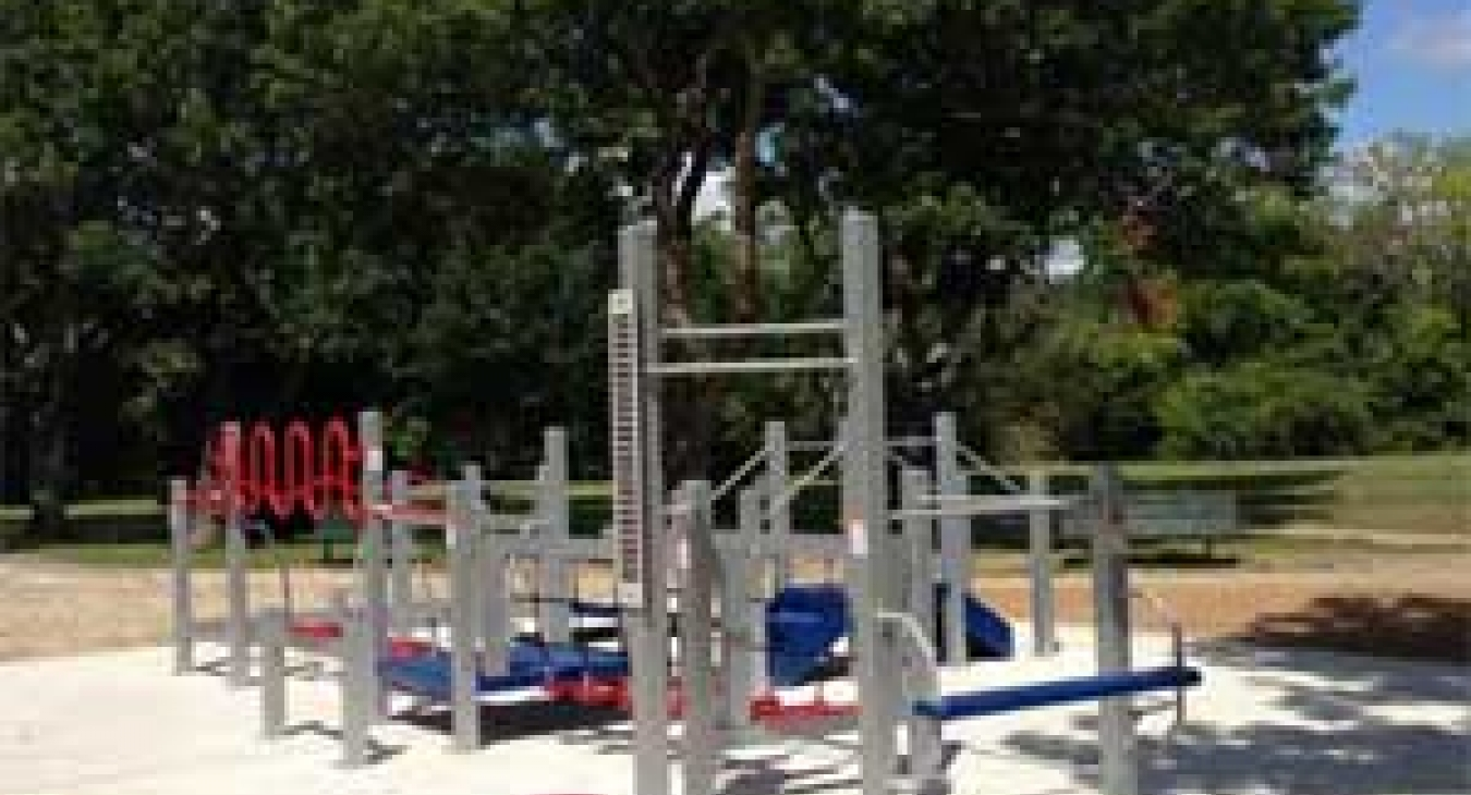An outdoor apparatus designed for seniors was unveiled at Carbide Park in Galveston County, Texas, on August 14, 2014. (@GalvCoTX/Twitter)