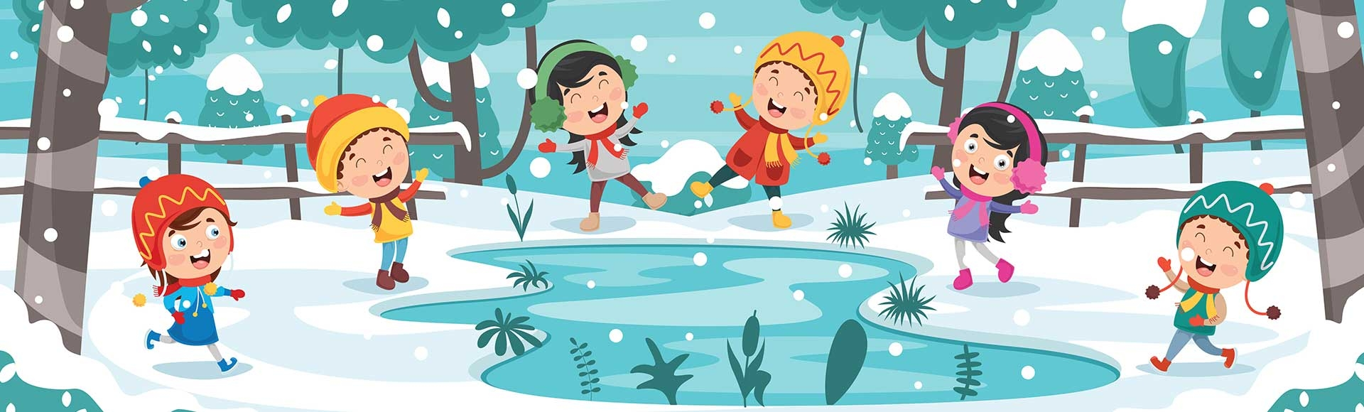 Illustration of kids playing in snow